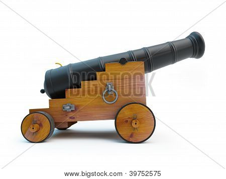 Old pirate cannon on a white background poster