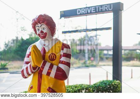 Nakhon Sawan, Thailand - Mar 01, 2019: Mascot Of Mcdonald's Restaurant, Ronald Mcdonald Standing In
