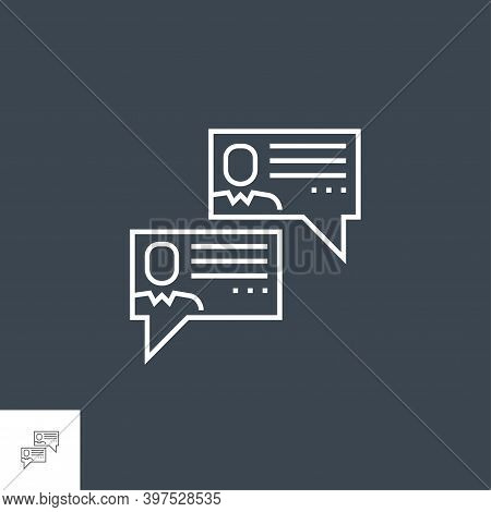 Social Chanels Related Vector Thin Line Icon. Isolated On Black Background. Editable Stroke. Vector