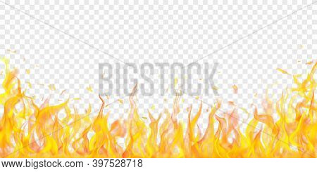 Translucent Fire Flames And Sparks On Transparent Background. For Used On Light Illustrations. Trans