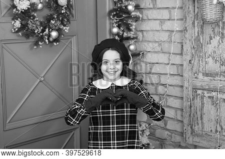 Love Gesture. Fashion Girl Ready For Christmas Celebration. Little Fashionista Wearing Gloves. Small