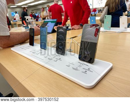 Orlando, Fl Usa-november 20, 2020: A Display Of Iphone 12, Iphone 12 Mini, Iphone 12 Pro, And Iphone
