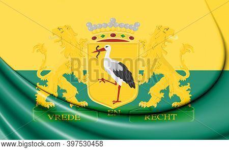 3d Flag Of Hague (south Holland), Netherlands. 3d Illustration