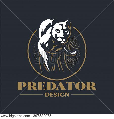 A Puma Or Panther Walks With His Paw Raised. Stylized Vector Illustration.