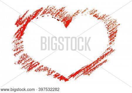 Red heart stencil by crayon isolated on the white background. Valentine card, space for your own text
