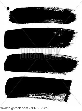 Set of thick black ink brush strokes isolated on the white background. Raster hand drawn illustration