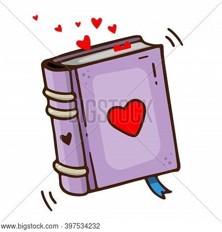 Vector Hand Drawn Book With Heart. Outline Doodle Icon. Sketch Illustration For Print, Web, Mobile A
