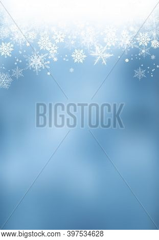 Snow Background. Blue Christmas Snowfall With Defocused Flakes And Swirls. Winter Concept With Falli