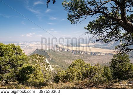 Hazy, Polluted, Poor Air Quality Sky Over The Canyon Of Dinosaur National Monument Colorado