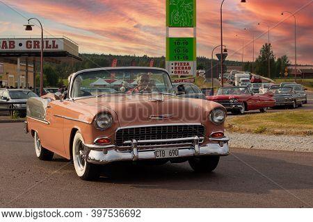 Rattvik, Sweden - July 27.2013: Classic Car Week Rttvik - Chevrolet Bel Air 1955, Oldtimer Car. Old