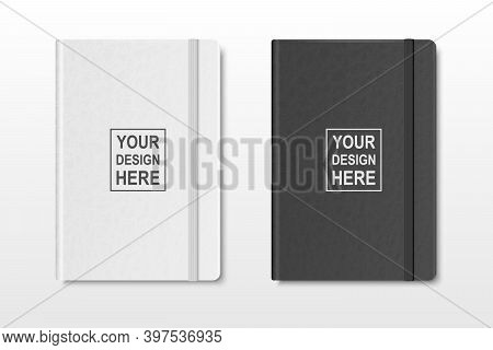 Vector 3d Realistic Textured White And Black Closed Blank Paper Notebook Set Isolated On Transparent