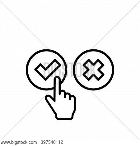 Check And Cross Mark With Hand Cursor Icon. Approve Or Deny Concept. For Apps And Websites. Vector E