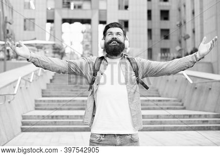 Music Sets You Free. Happy Hipster Stretch Arms Urban Outdoors. Freedom Concept. Freedom To Travel.