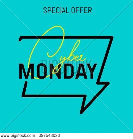Cyber Monday Discount Sale Concept. Inscription Design Template. Cyber Monday Banner.