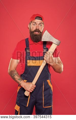 Man Worker Hold Axe. Cut His Beard. Lumberjack Carrying Ax. Employee With Axe. Surprised Woodcutter.