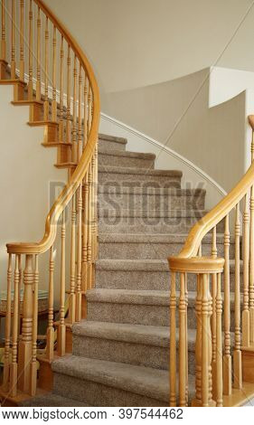 Stair Case. A Spiral Stair Case going upstairs. Stairs are enjoyed by people world wide.