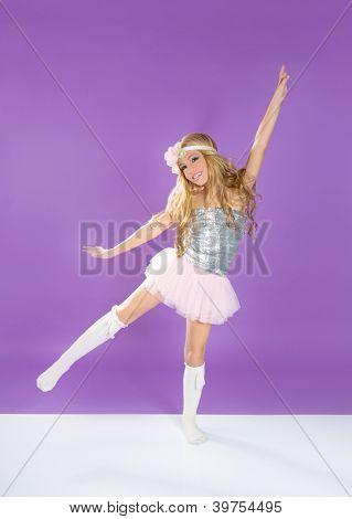Children fashiondoll spring girl dancing on purple background