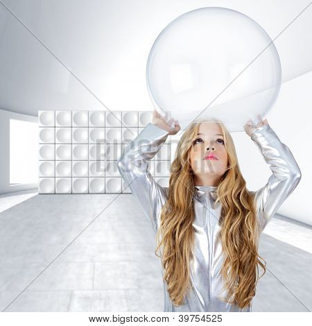 Astronaut children girl with glass bubble helmet on futuristic indoor [photo-illustration]