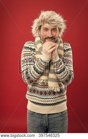 Its Cold, Warm Yourself. Senior Man Shiver In Cold Weather Wear. Mature Man Feel Cold Red Background