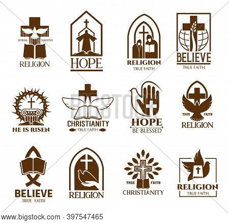 Christian Church Parish Or Community Icons Set. Religion School And Bible Learning Lectures, Religio