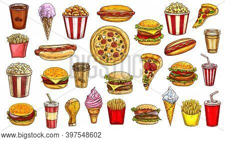 Sketch Fast Food Meals Isolated Vector Icons Coffee, Cola And Popcorn With Hot Dog. Pizza, Cheesebur