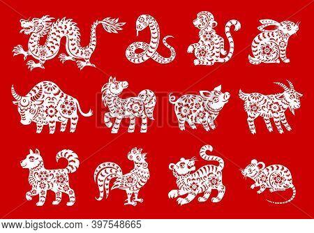 Zodiac Symbols Of Chinese Horoscope Animals Vector Design. Lunar New Year Paper Cut Dragon, Rat Or M