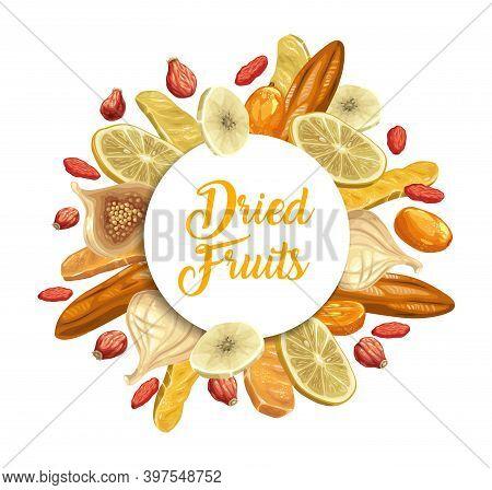 Dried Tropical Fruits Round Banner. Lemon Slice, Mango And Dogwood, Dry Kumquat, Fig And Full And Sl