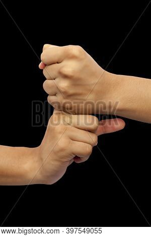 Shot Of Pair Of Hands Doing Vajra Mudra Isolated On Black Background.