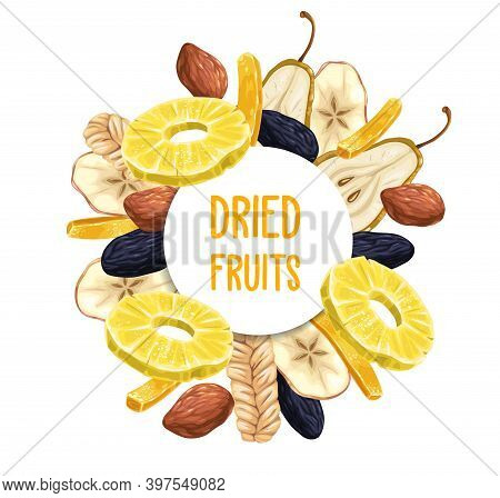Dried Fruits Round Poster Or Frame. Pineapple Ring, Prunes Or Damson And Candied Ginger Strip, Pear