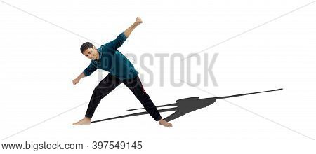 Full Body Shot Of A Young Male Teenager In Activewear Doing Warm Up Exercise Isolated On White Backg