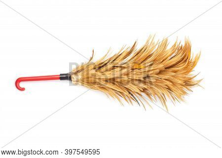 Feather Duster For Cleaning Isolated On White Background.
