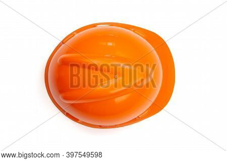 Top View Orange Safety Engineer Helmet With Clipping Path Isolated White Background.