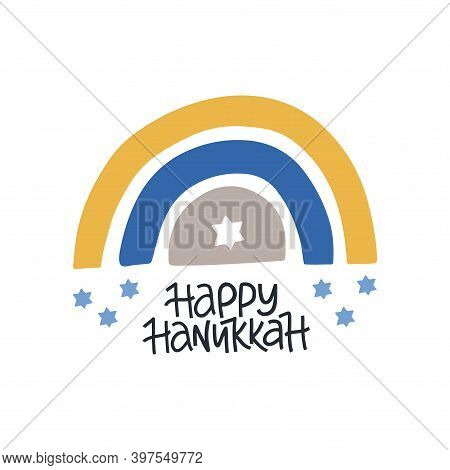Hanukkah Vector Celebration Typography. Jewish Holiday Greeting Card. Happy Hanukkah Quote. Chanukah