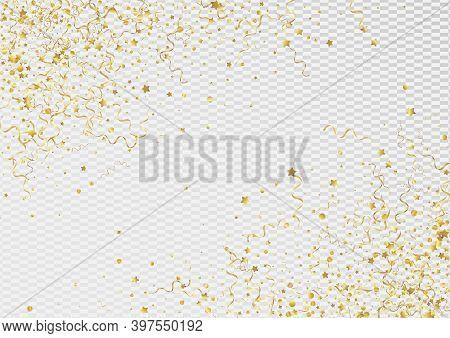 Gold Ribbon Isolated Vector Transparent Background. Celebration Serpentine Branch. Confetti Shiny Po