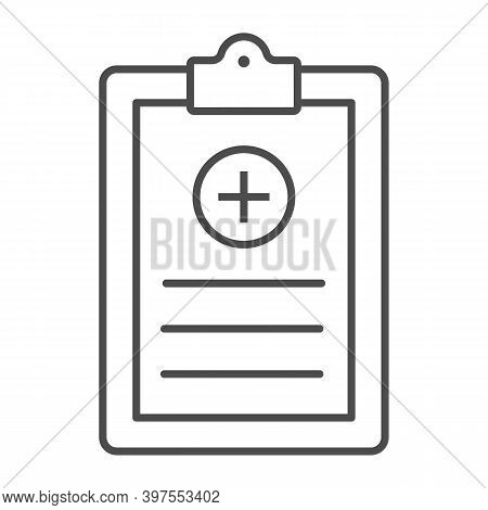 Medical History Thin Line Icon, International Dentist Day Concept, Medical Report Sign On White Back