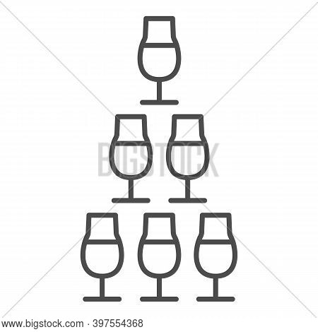 Pyramid Of Glasses Thin Line Icon, Bartenders Day Concept, Glasses Pyramid Stand Sign On White Backg