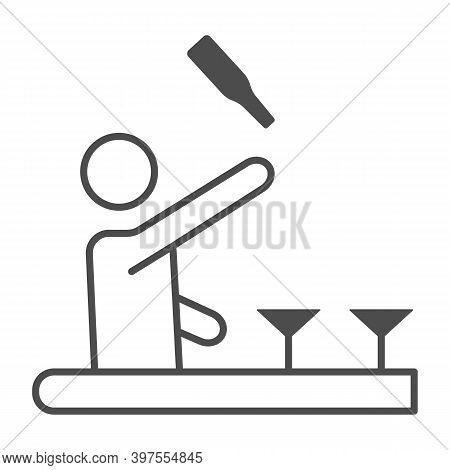 Bartender Throws Up A Bottle Of Drink Thin Line Icon, Bartenders Day Concept, Bartender Juggles Drin