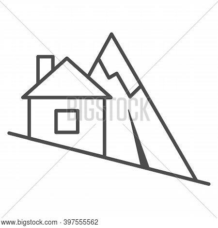 Mountain Descent Thin Line Icon, World Snowboard Day Concept, Ski Tracks Sign On White Background, S
