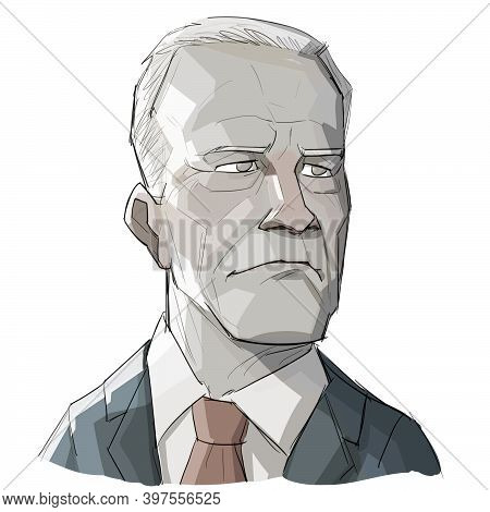 Dec 1, 2020, Auckland, New Zealand: Caricature Illustration Of Bust Of American 46th President Elect