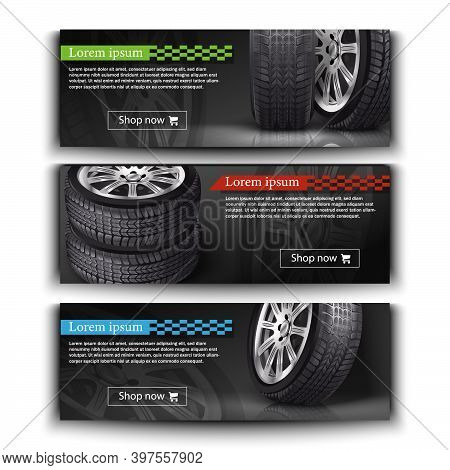 Advertisement Posters For Your Business. Vector Realistic 3d Car Tires Illustration For Your Store.