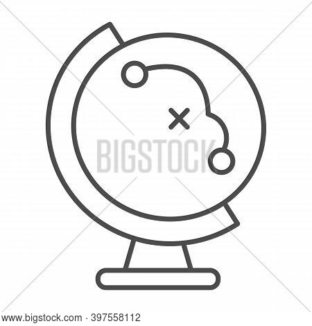 Globe With Flight Path Thin Line Icon, School Concept, Equipment For Geography Sign On White Backgro