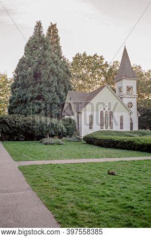 Richmond, Canada - September 30, 2020: Church Historic Richmond Chapel In Minoru Park Gray Autumn Da