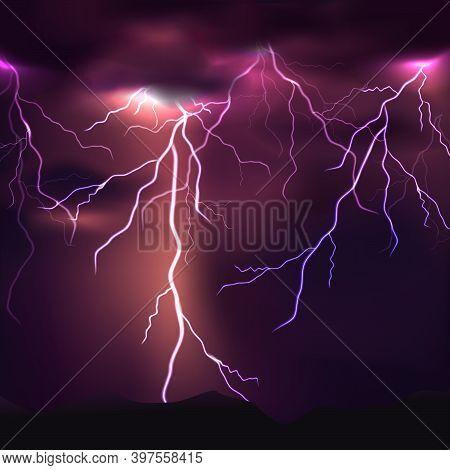 Bright Light Thunder Background With Lightning On Sky.