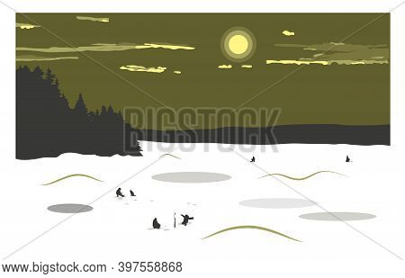 Winter Landscape With A View Of A Frozen Snow-covered Lake. Fishermen Catch Fish On The Lake. Winter