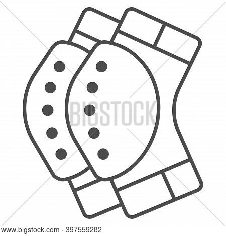 Protective Knee Pads Thin Line Icon, World Snowboard Day Concept, Skateboarding Protective Gear Sign