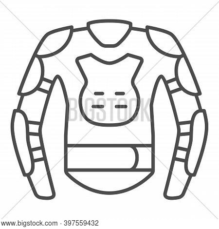 Snowboarder Protective Suit Thin Line Icon, World Snowboard Day Concept, Snowboard Jacket Sign On Wh