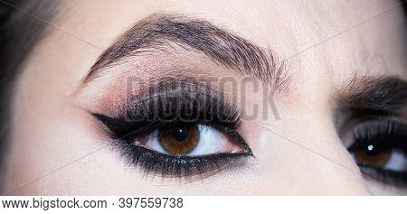 Make Up Eyes. Closeup Of Beautiful Womanish Eye. Close Up Macro Of Beautiful Female Eye With Perfect