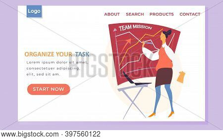 Organize Your Task Landing Page Template With A Businesswoman Standing Near Board Drawing A Team Mis
