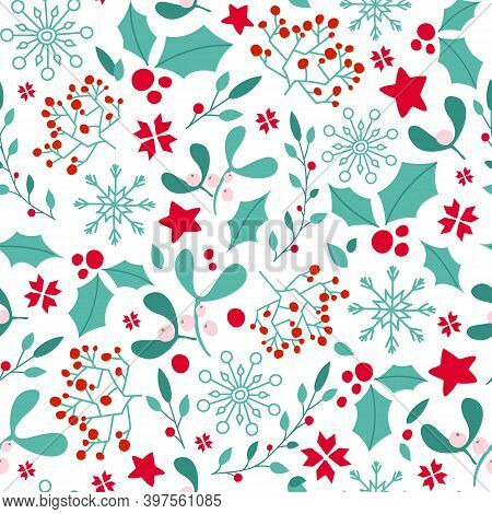 Christmas Or New Year Seamless Pattern Or Digital Paper - Winter Floral Blue Red Ornament, Holly, Mi