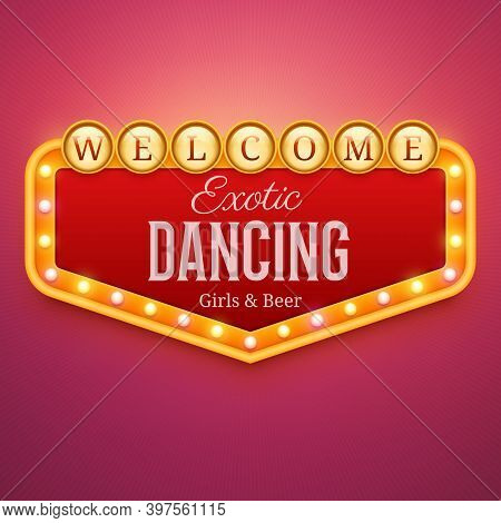 Dancing Club Light Sign. Wall Signage With Marquee Lights. Nightclub, Casino, Theater, Cinema Or Bar